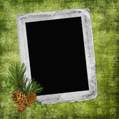 Abstract background with frame and pinec — Stock Photo