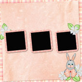Background with frame and bunny — Stock Photo
