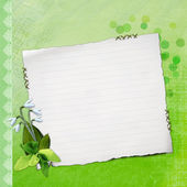 Blank note paper on textured background with flo — Stock Photo