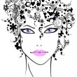 Beautiful girl with flower hair - Stock Vector