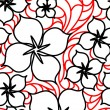 Black and red flowers seamless pattern - Stock Vector