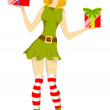 Girl Santa helper - Stock Vector