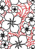 黑色和红色的花朵无缝模式 — 图库矢量图片