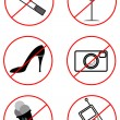 Prohibiting signs (Black-and-white) - Stock Vector