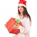 Beautiful girl in christmas cap. — Stock Photo #1288760