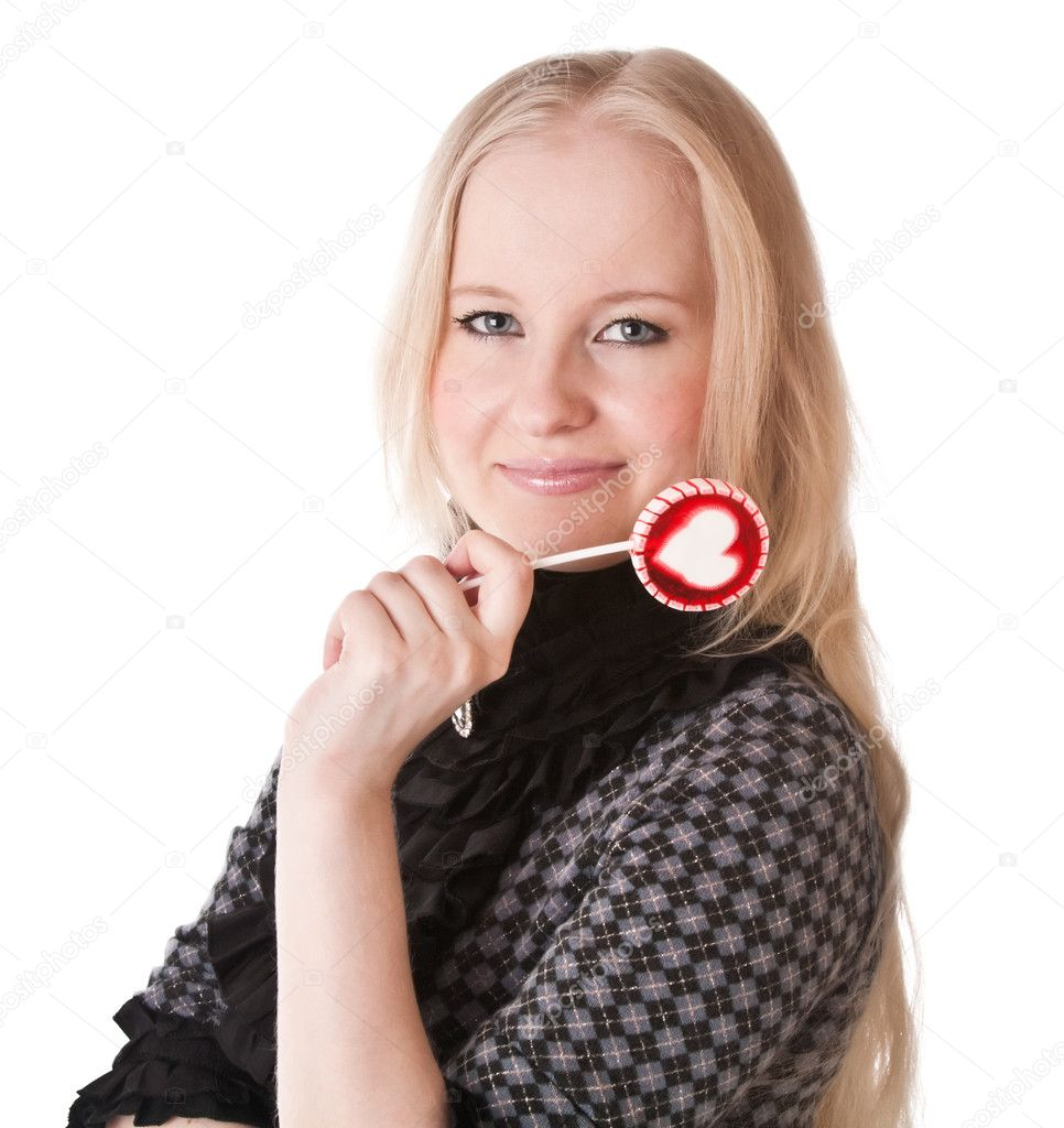 Lovely girl blonde with lollipop. Isolated on white — Stock Photo #1554541