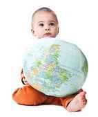 Lovely little boy with globe — Stock Photo