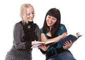 Two beautiful girls with books — Stock Photo