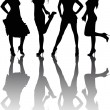 Silhouettes of four beautiful girls — Stock Vector