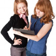 Two smiling girl with folder — Stock Photo #2551835