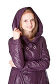 Girl in raincoat — Stock Photo