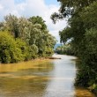 Danube channel between wooded banks — Stock Photo