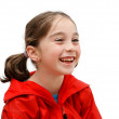 Laughing seven years girl with pigtails — Stock Photo