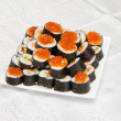 Homemade Japanese sushi with red caviar — Stock Photo