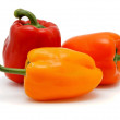 Three sweet bell peppers isolated — Stock Photo