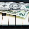 Two dollar bills on orgkeyboard — Stock Photo #1173250