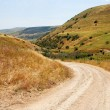 Countryside road among yellow hills - Stock Photo