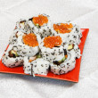 Homemade maki sushi with red caviar — Stock Photo