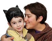 Mother embraces five year old son — Stock Photo