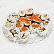 Homemade sushi with red caviar — Stock Photo