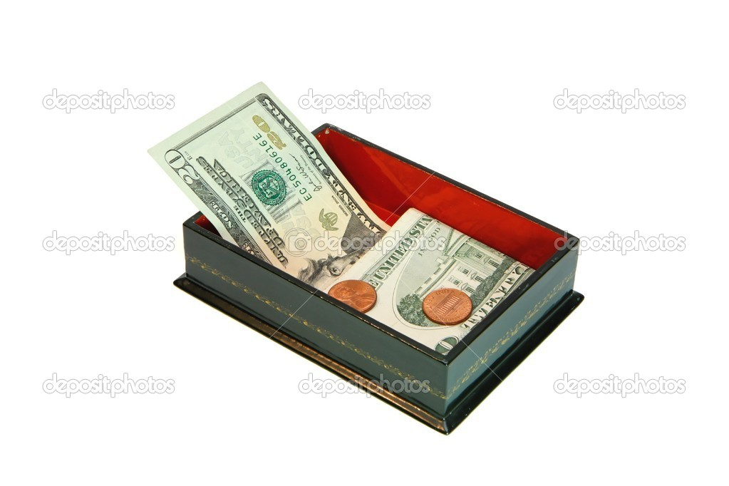 Green rectangular casket with USA money isolated — Stock Photo #1231543