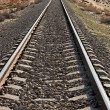 Straight railway in desert converging - Stock Photo