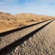 Straight railway in desert to horizon — Stockfoto