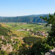 View of Danube valley and Durnstein town — Stock Photo