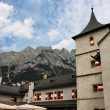 Towers of Alpine medieval castle - Foto Stock