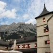 Towers of Alpine medieval castle - Stockfoto