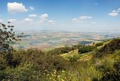 Panoramic view on patchwork of fields — Stock Photo