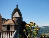 Roofs and towers of medieval castle — Stock Photo