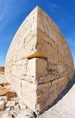 Fisheye view of ancient stone building — Stock Photo