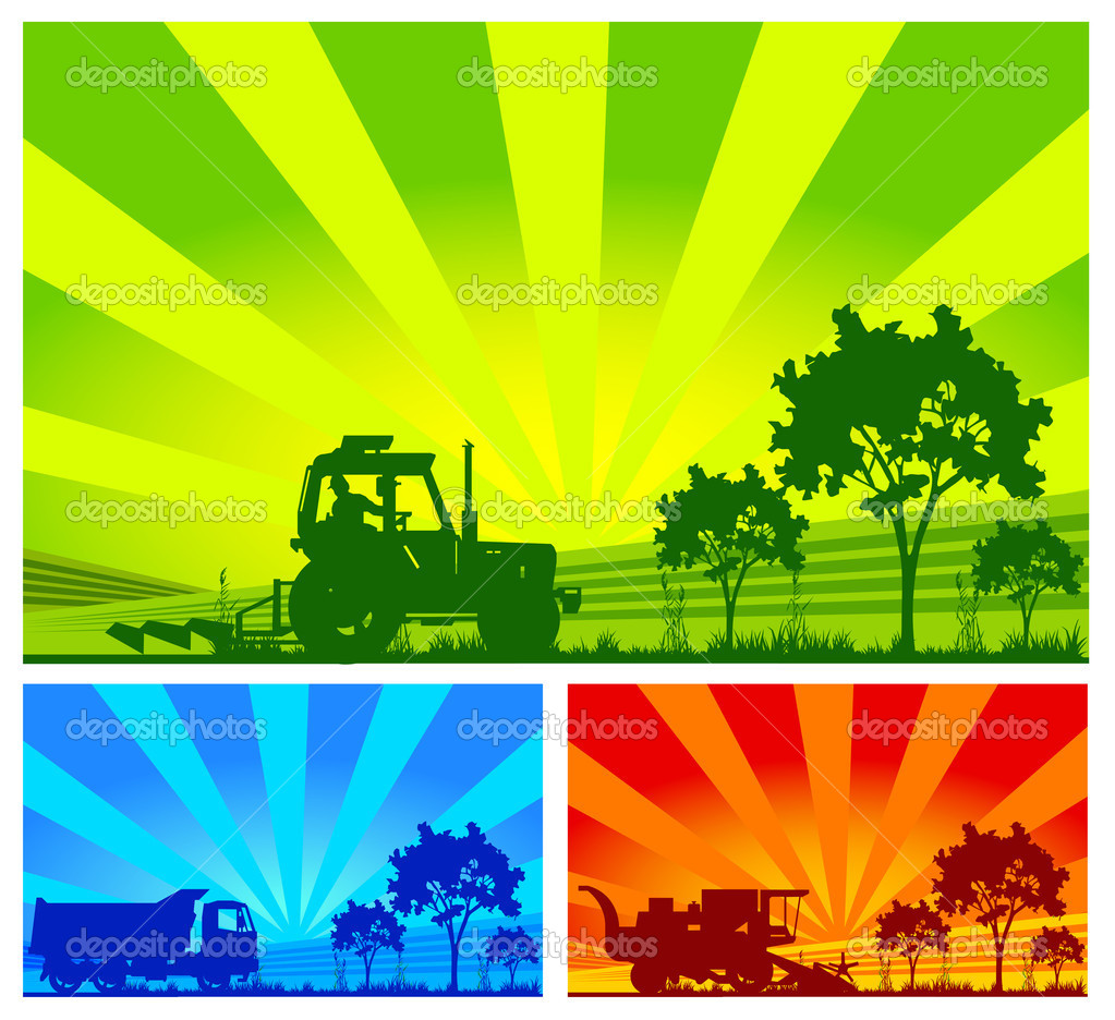 Agricultural machinery, tractor, combine, lorry in field — Stock Vector #1222106