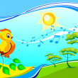 Stock Vector: Landscape with singing birdy