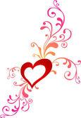 心とバレンタイン グリーティング カード — ストックベクタ