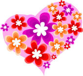 Heart with flowers — Vector de stock