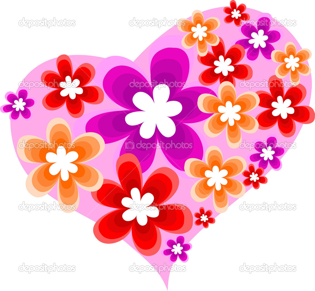 Flower decorative project with flowers and heart, love conception  Stock Vector #1234903