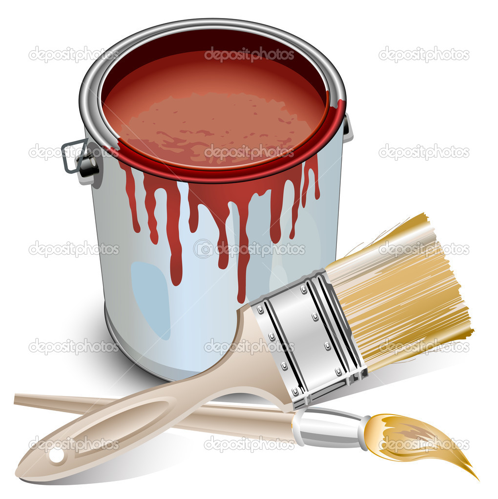 Tins with building paint opened and brushes, vector illustration — Stock Vector #1248161