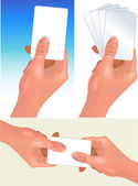 Hands with cards — Vector de stock