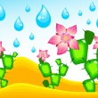 Royalty-Free Stock Vector Image: Cactuses blossoming under rain