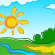 Vector landscape with sun - Stock Vector