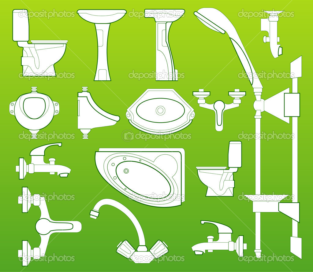 Sanitary technician, washstand, bowl, bathing, toilet bowl, shower, crane   Stock Vector #1261764