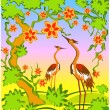 Stock Vector: Two herons in east style