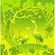 Stock Vector: Herons in green