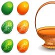 Stock Vector: Easter eggs with basket