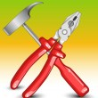 Stock Vector: Hammer and flat-nose pliers