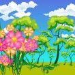 Landscape with trees and flowers - Stock Vector