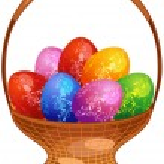 Easter eggs in basket — Stock Vector