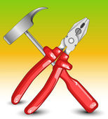 Alicates martillo y punta plana — Vector de stock